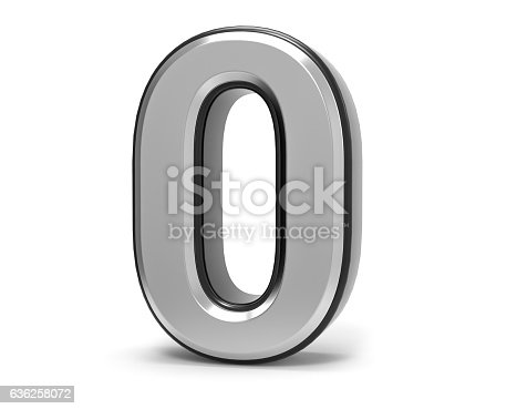 istock 3D Isolated Metal Metallic 0 zero Number Illustration. 636258072