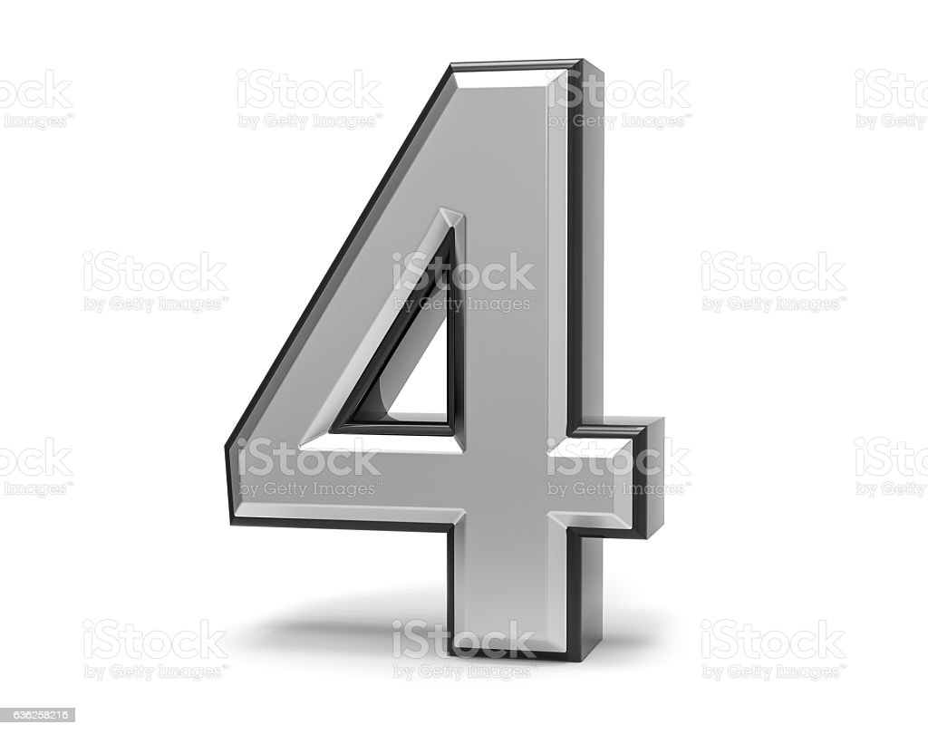 3D Isolated Metal Metallic 4 Four Number Illustration. stock photo