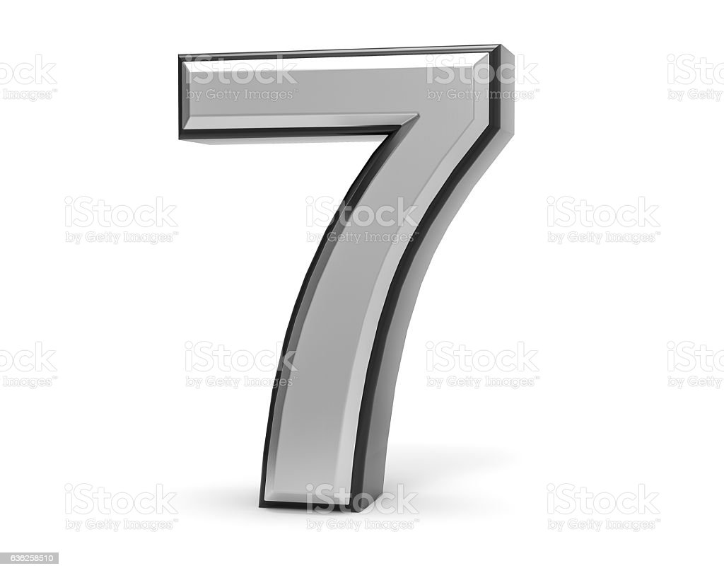 3D Isolated Metal Metallic 7 Seven Number Illustration. stock photo