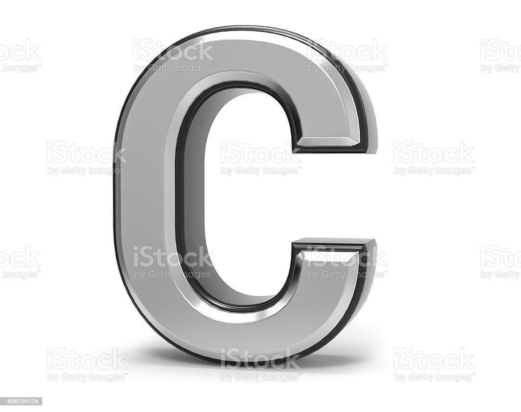 3d Isolated Metal Metallic C Letter Alphabet Logo Illustration Stock