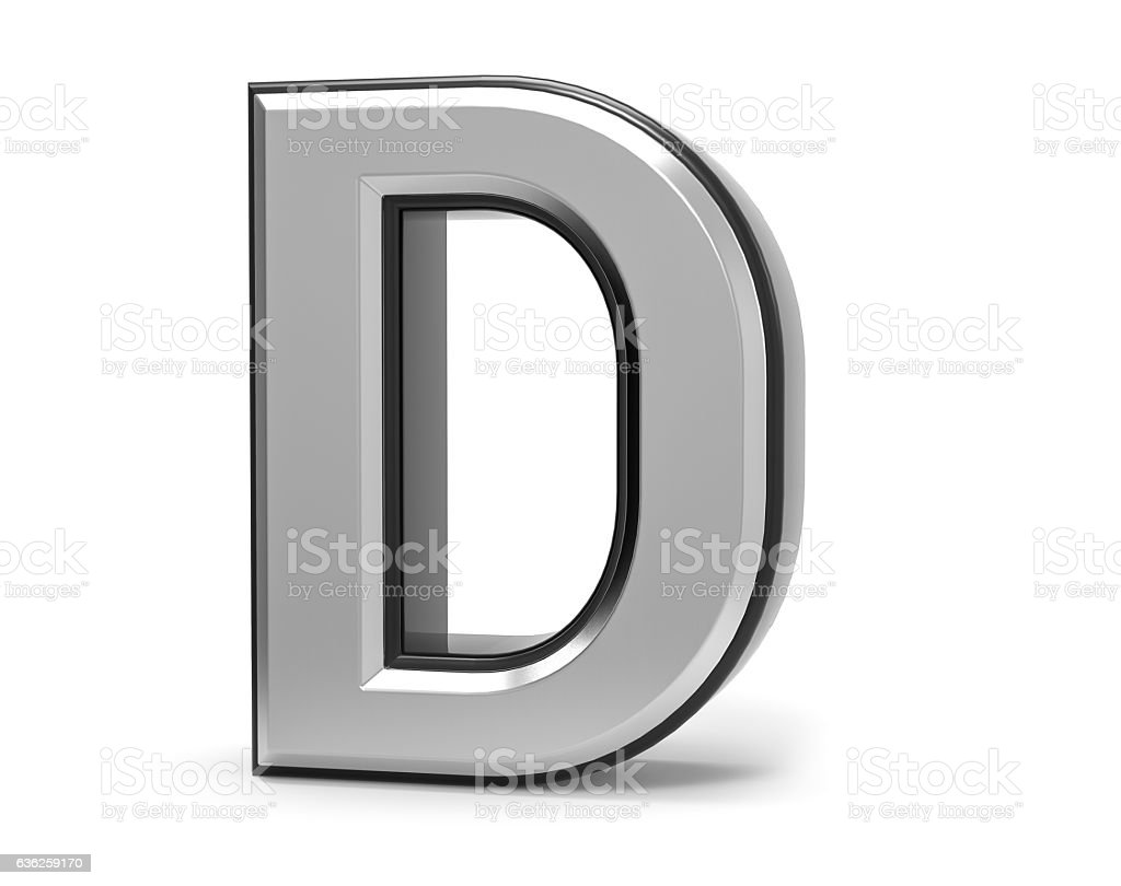 3D Isolated Metal Metallic D Letter Alphabet Logo Illustration. stock photo