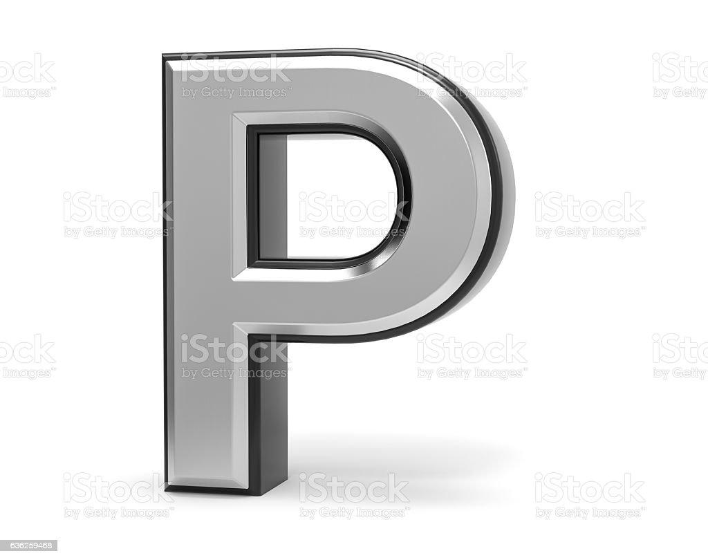 3D Isolated Metal Metallic P Letter Alphabet Logo Illustration. stock photo