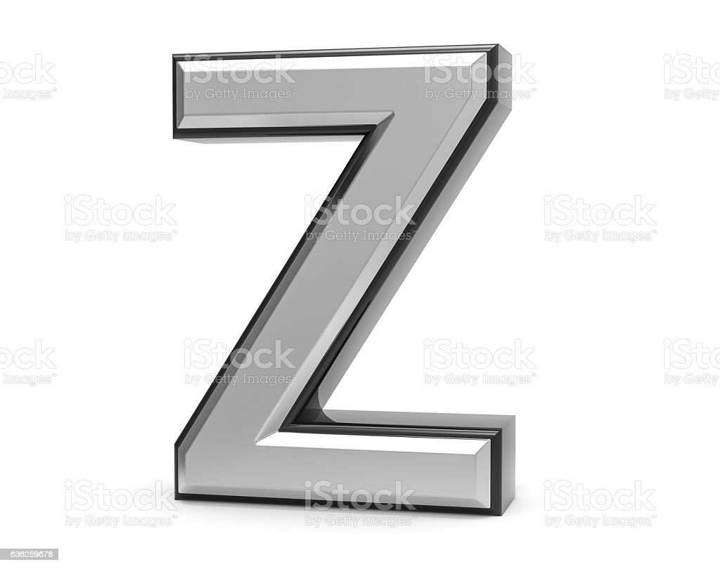 3d Isolated Metal Metallic Z Letter Alphabet Logo Illustration Stock