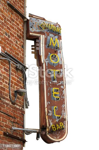 Isolated Grungy Retro Metal Motel, Restaurant And Bar Sign With Brick Wall And White Background