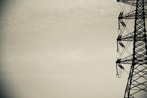 Isolated metallic electric tower unique photo stock photo
