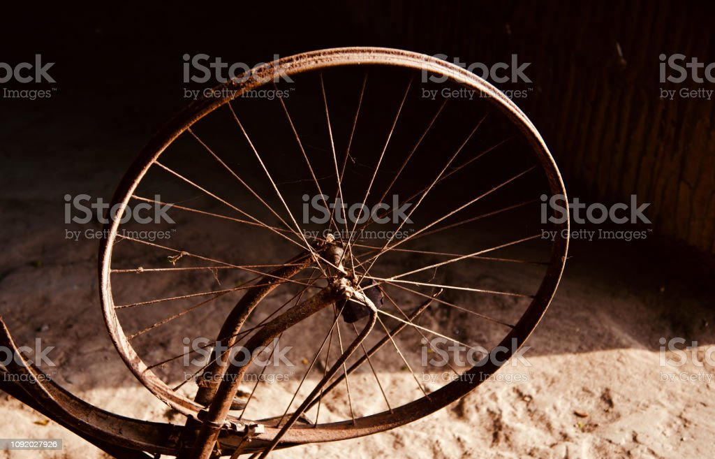 Isolated metallic ring of a bicycle wheel stock photo