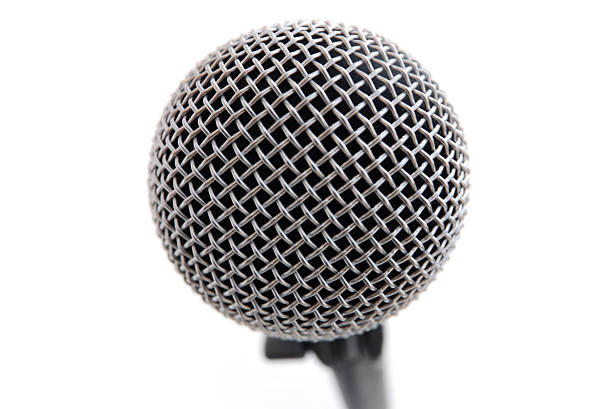 Isolated Microphone, Close and Up Front stock photo
