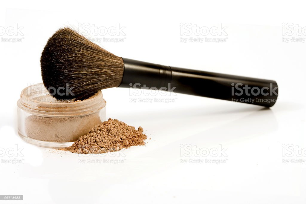 Isolated mineral make-up with brush stock photo