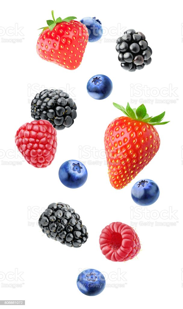 Isolated mixed berries stock photo