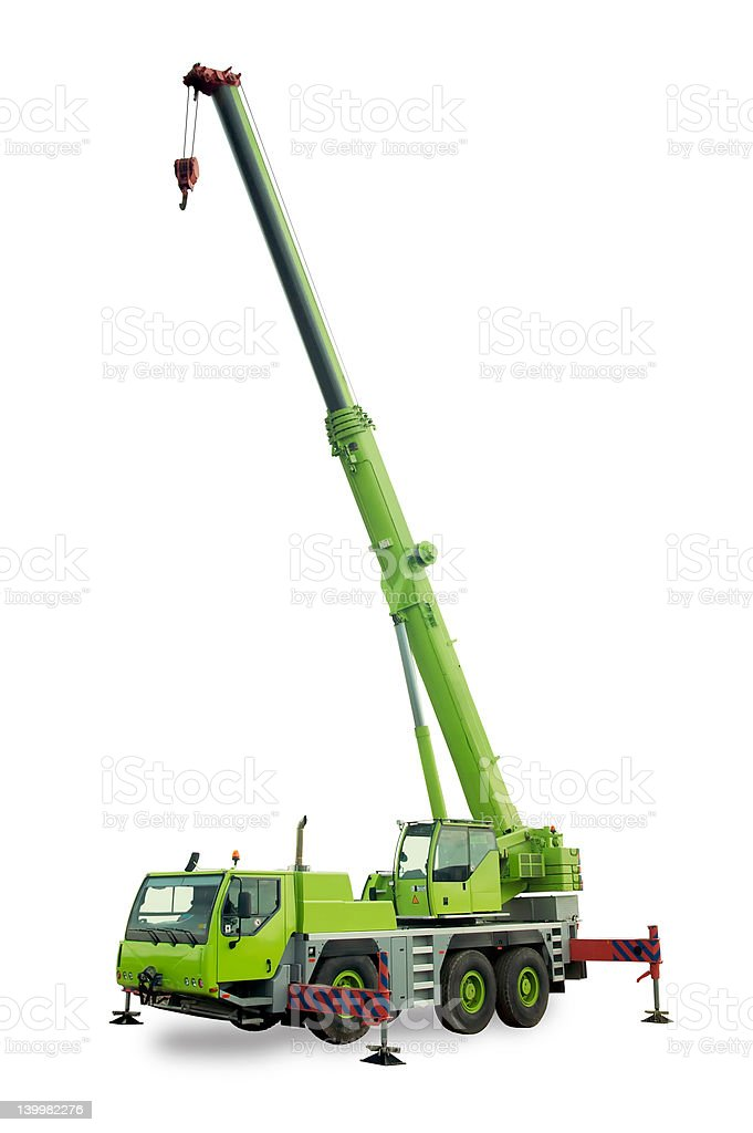 Isolated mobile crane stock photo