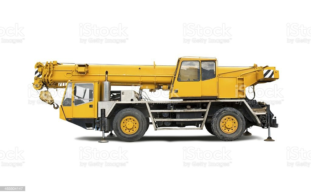 Isolated mobile crane royalty-free stock photo