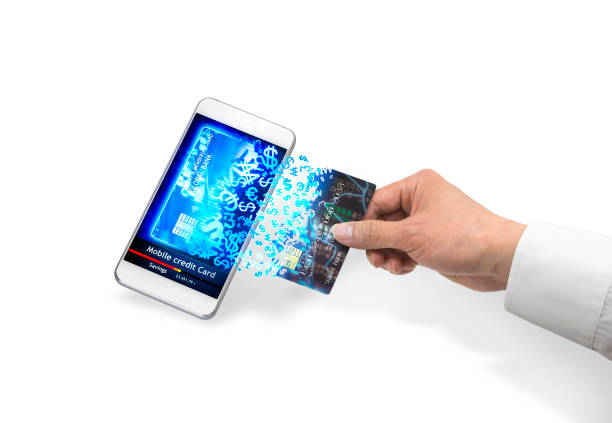 Isolated mobile credit card stock photo