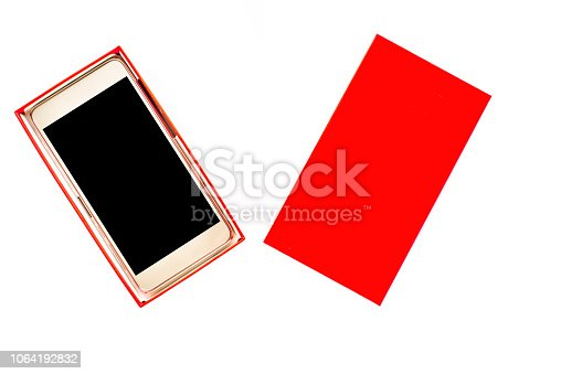 1161116588istockphoto Isolated mobile phone in a box, smartphone with black screen on white background 1064192832