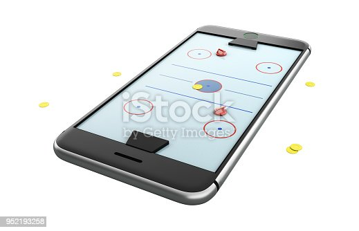 istock Isolated mobile phone screen hockey game concept 3d illustration 952193258