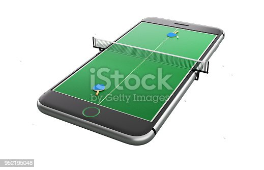 istock Isolated mobile phone screen ping pong game concept 3d illustration 952195048