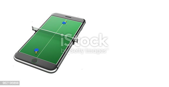 istock Isolated mobile phone screen ping pong game concept 3d illustration 952195856