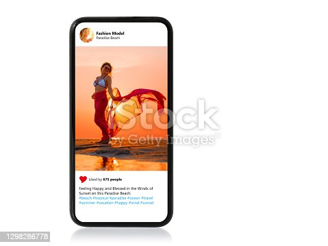 Isolated mobile phone with sample photo of beautiful female model shown on screen