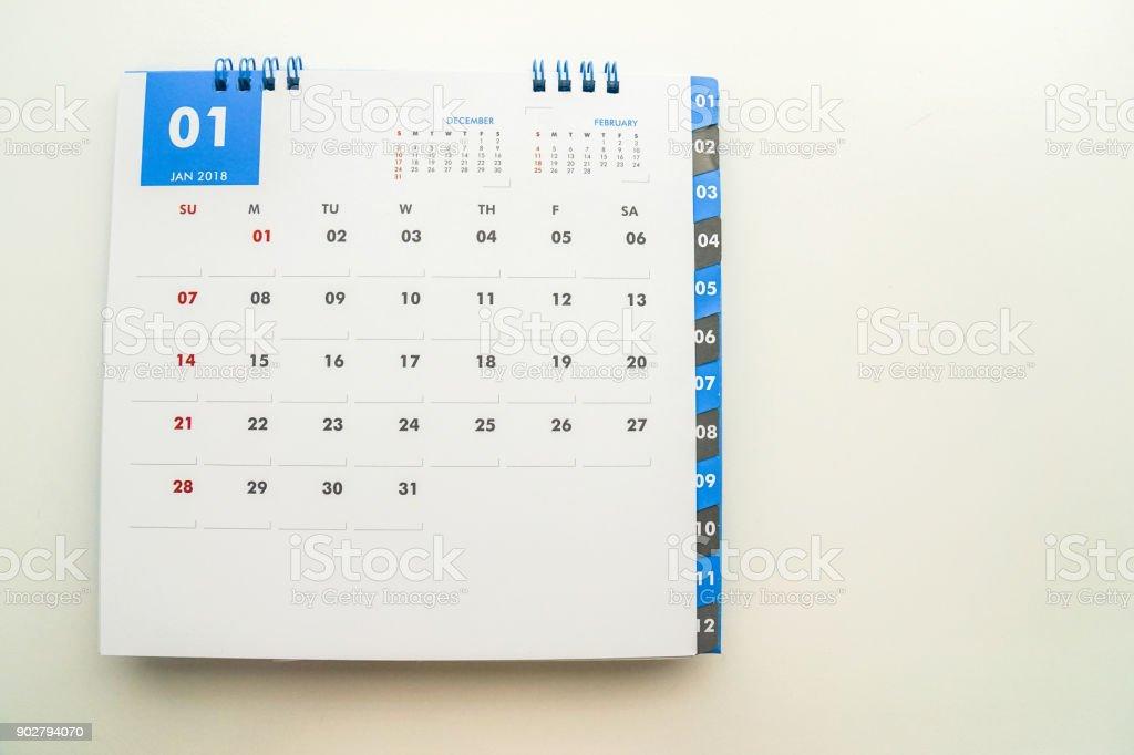 isolated mock up January 2018 calendar stock photo