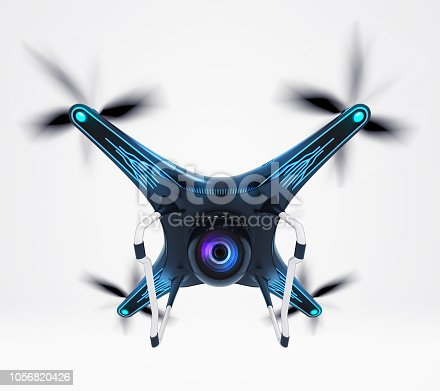 istock isolated modern camera drone in flight 1056820426