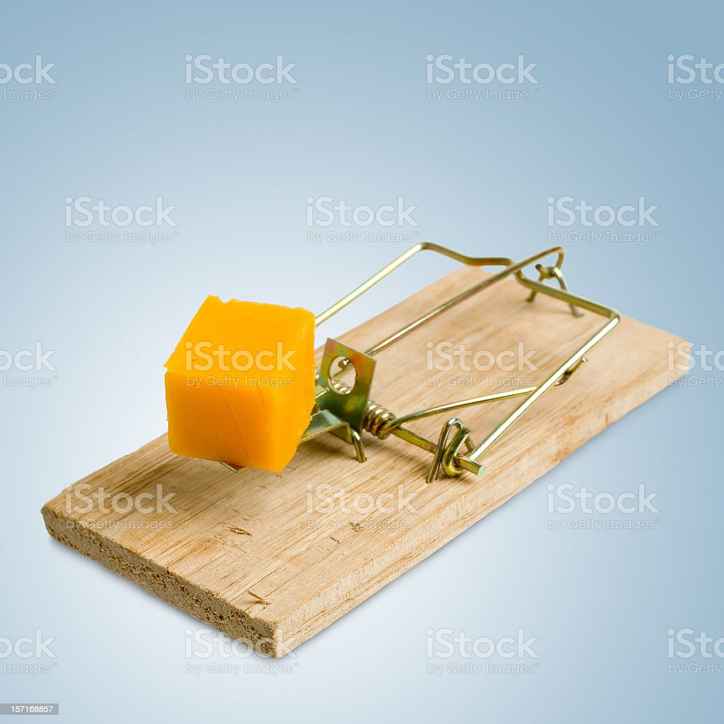 Isolated Mousetrap (blue background) royalty-free stock photo