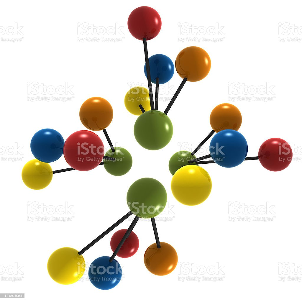 isolated multicolor molecule royalty-free stock photo