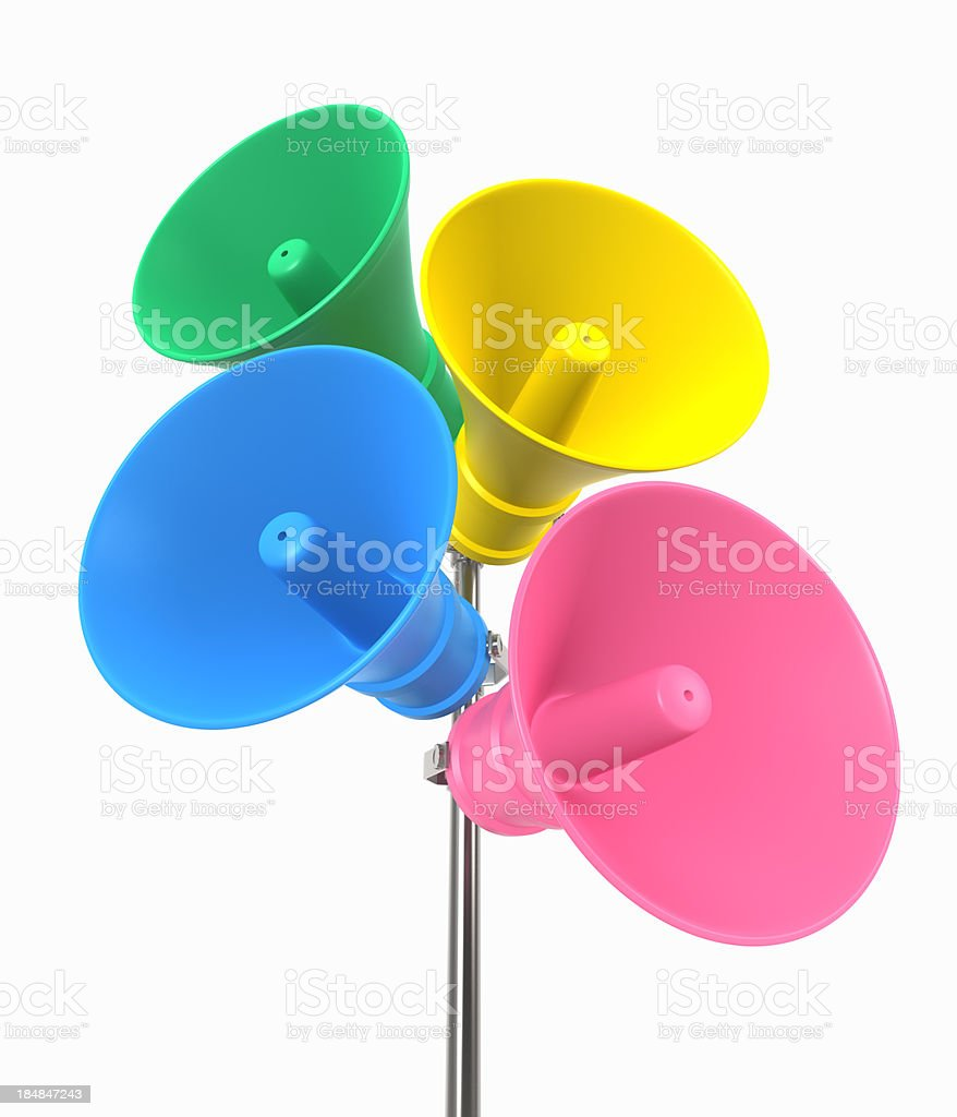 Isolated multicolored outdoor megaphone speakers stock photo