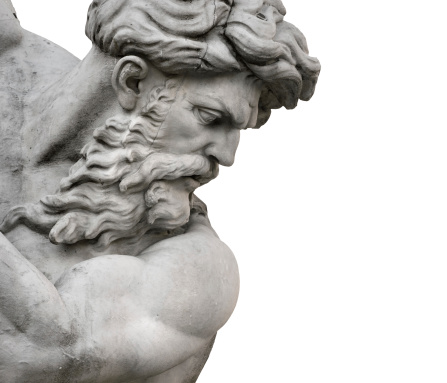 Fountain of the Neptune in Rome,  by Giacomo della Porta, sited in Piazza Navona. Isolated face of Neptune god, on a white background.