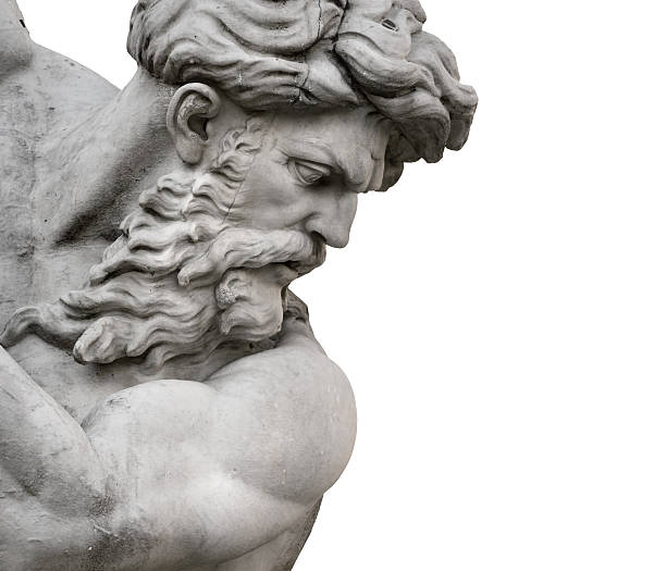 Isolated Neptune Statue Face from Piazza Navona Fountain of the Neptune in Rome,  by Giacomo della Porta, sited in Piazza Navona. Isolated face of Neptune god, on a white background. statue stock pictures, royalty-free photos & images