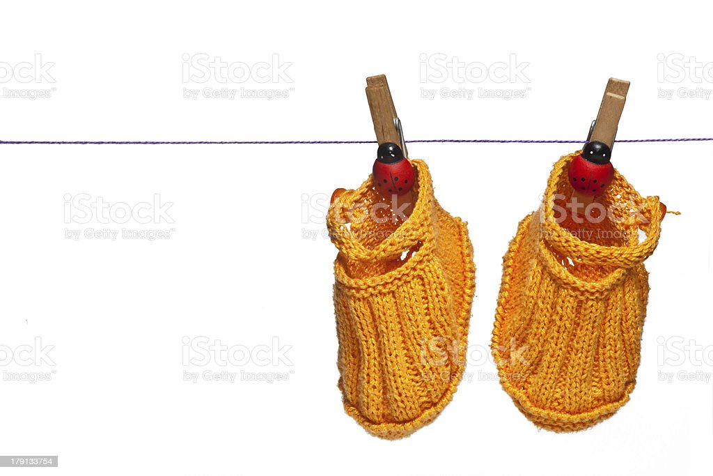 Isolated new born shoes stock photo