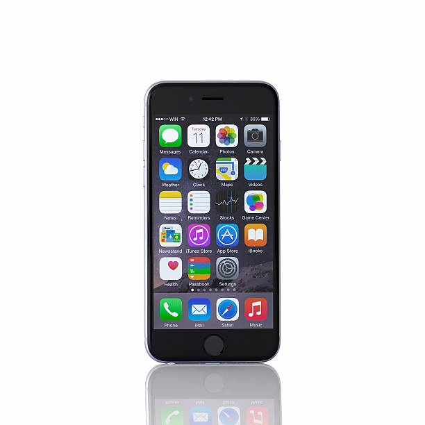 Isolated new iPhone 6 Space Gray stock photo