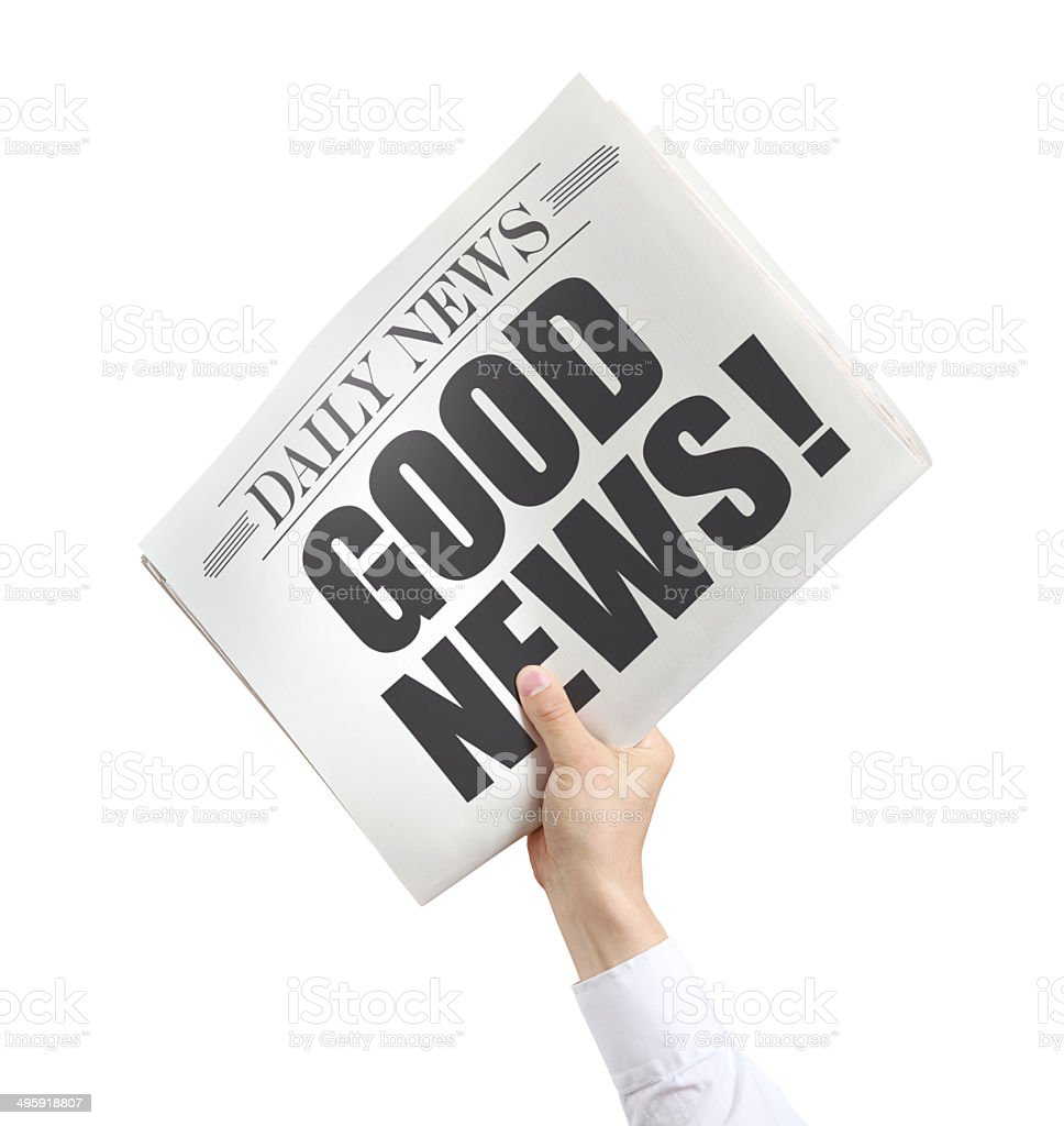 Isolated Newspaper with Good News stock photo