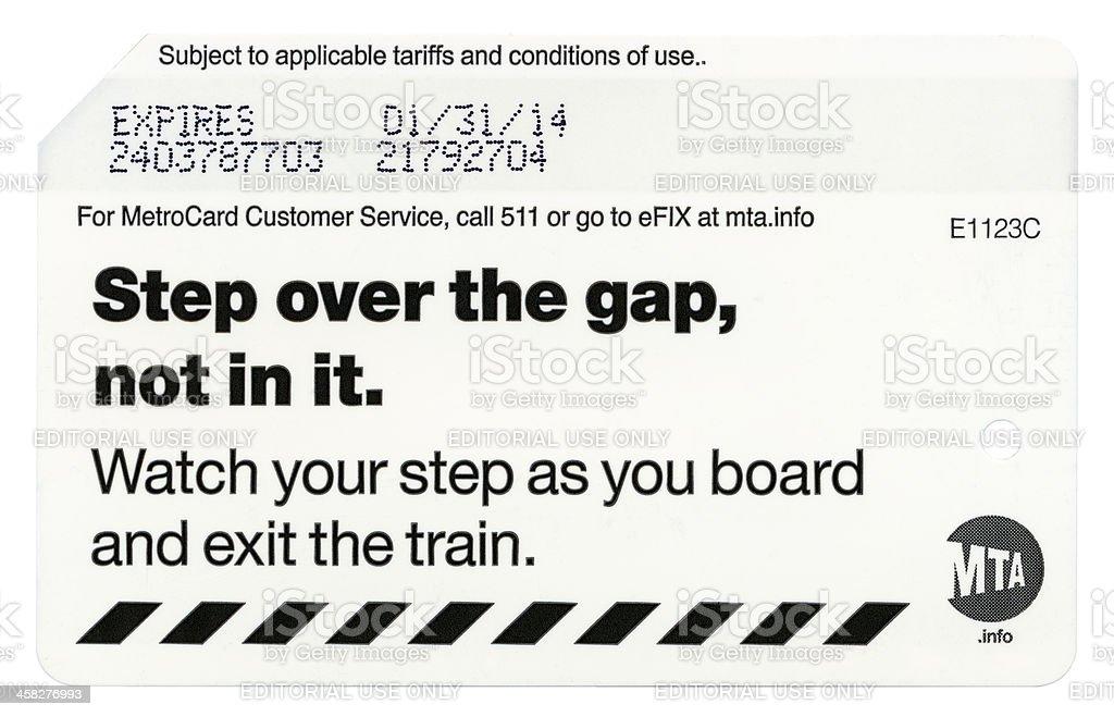 Isolated Newyork Mta Metro Card Back Side Xxxxl Stock Photo