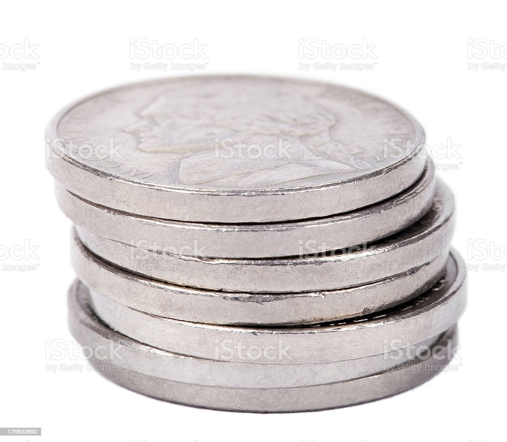Isolated Nickel Coins Stack stock photo
