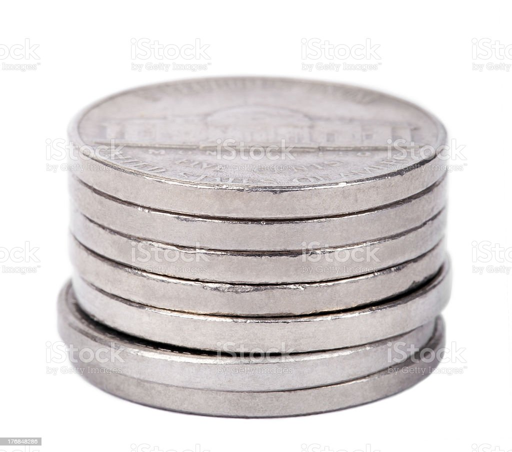 Isolated Nickels Stack stock photo