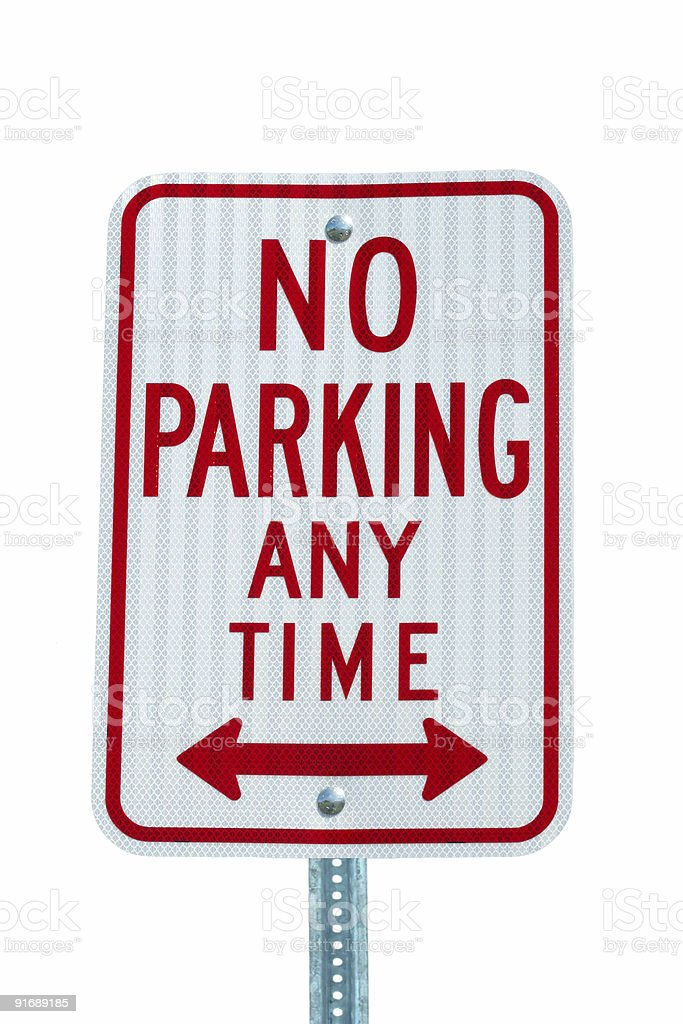 Isolated No Parking sign on white stock photo