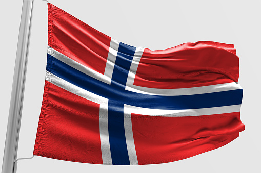 Isolated Norway Flag waving 3d Realistic fabric