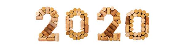 Número aislado de corchos de vino. Año Nuevo 2020 aislado sobre fondo blanco. - foto de stock