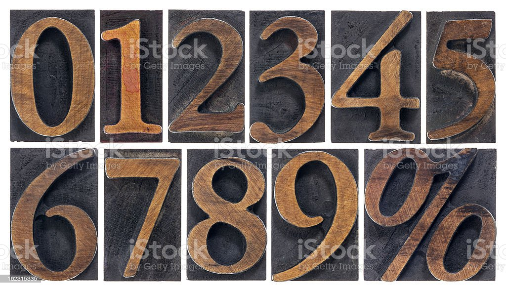 isolated numbers in wood type stock photo