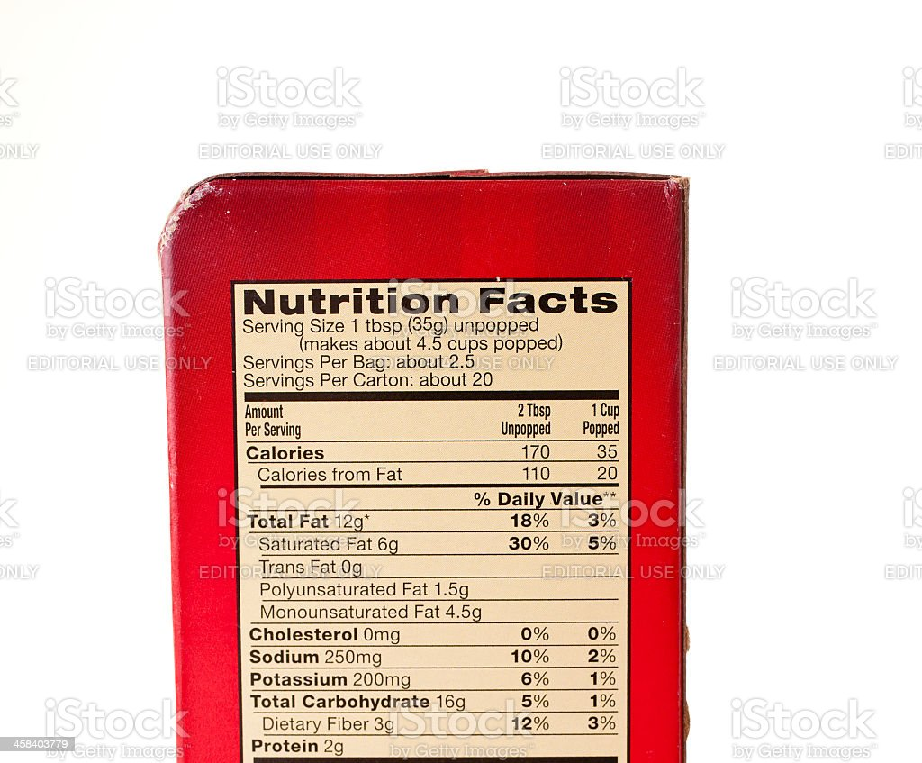 Isolated Nutrition Facts On Orville Redenbackers Movie Theater Butter Popcorn Stock Photo Download Image Now Istock