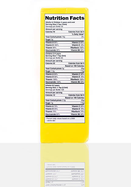 isolated nutrition label on yellow box - nutrition label stock photos and pictures