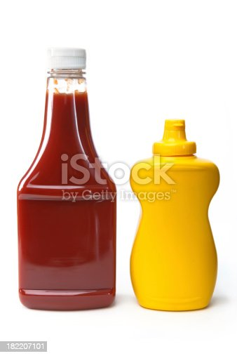 Isolated clip art objects.  Catsup and Mustard on white background.