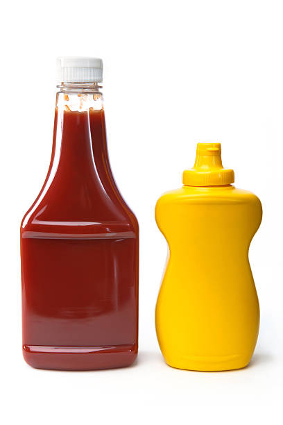 Isolated Objects - Catsup and Mustard Isolated clip art objects.  Catsup and Mustard on white background. ketchup stock pictures, royalty-free photos & images