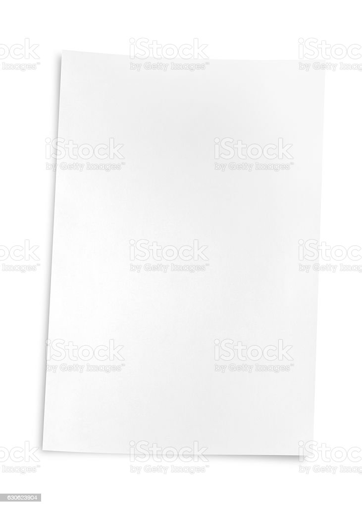 Isolated of blank paper on white with clipping path stock photo