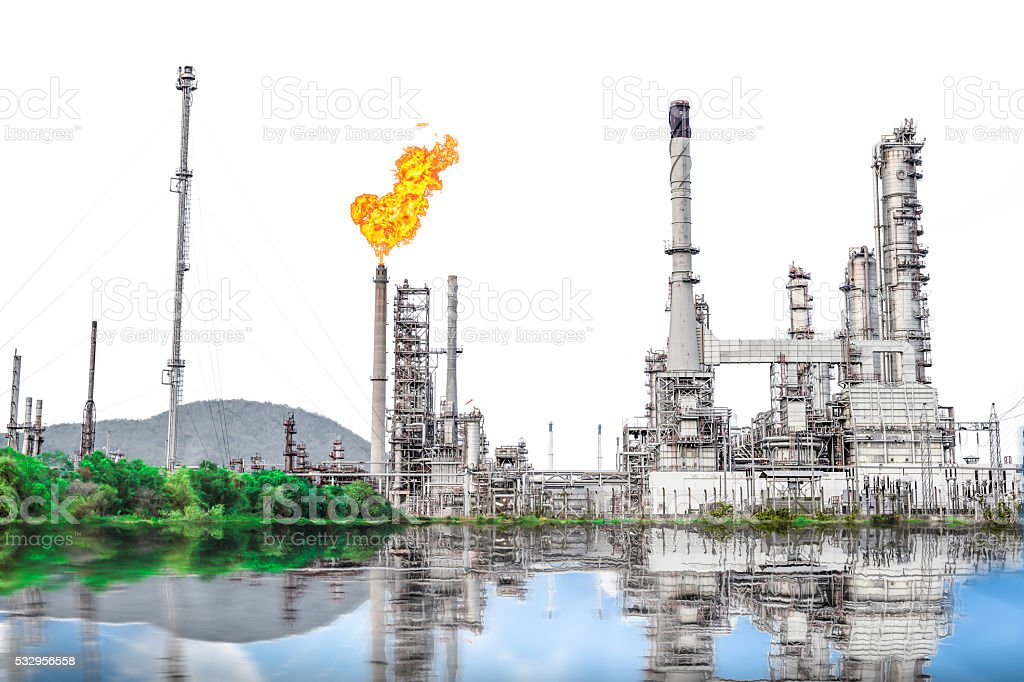 Isolated of Oil and Gas refinery plant with flare stack stock photo