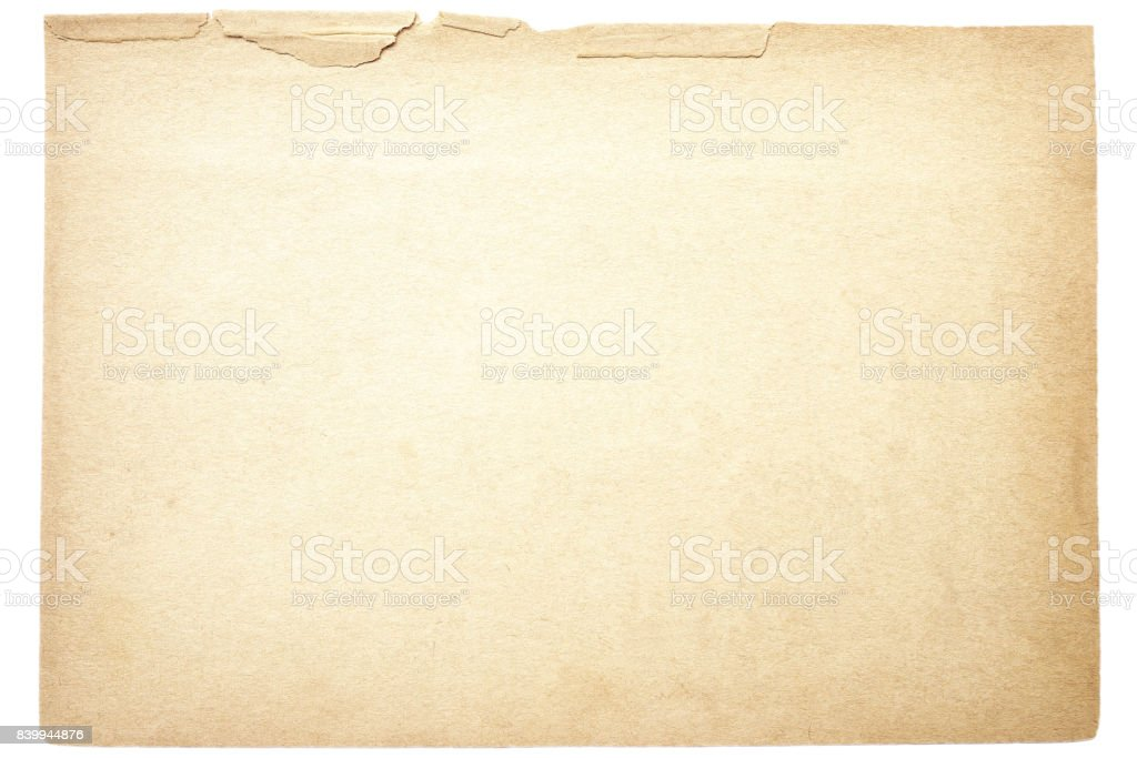Isolated old brown paper texture stock photo