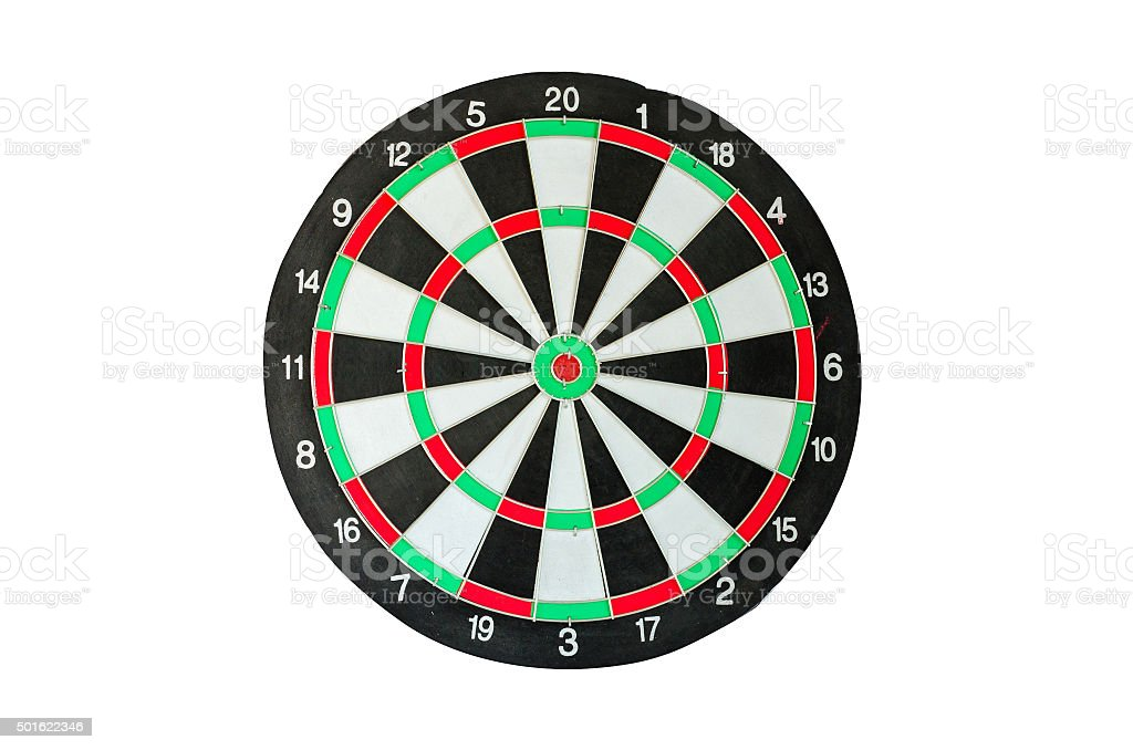 Isolated old classic darts board on white background stock photo