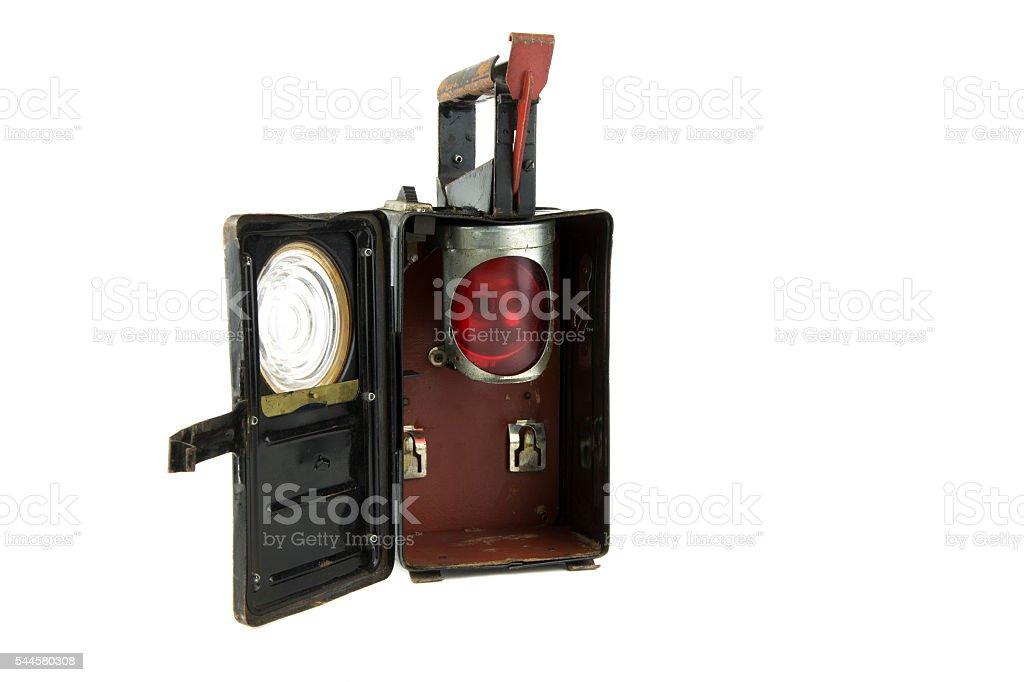 isolated old railroad lantern stock photo