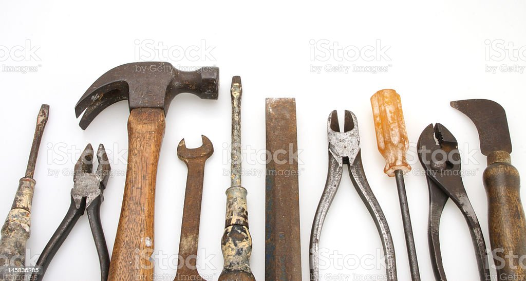 Isolated Old Tool Set royalty-free stock photo