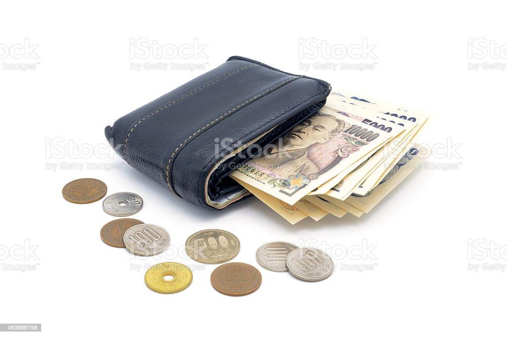 Isolierte Alte Verwendet Lederportemonnaie Münzen Und Banknoten