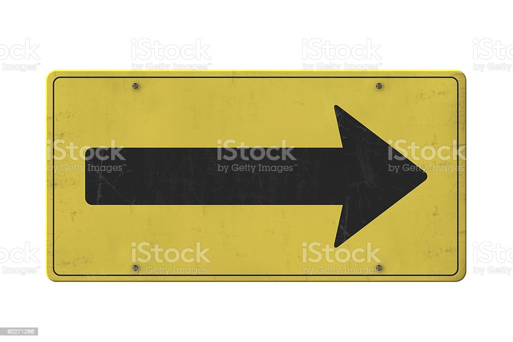 Isolated old yellow arrow sign stock photo